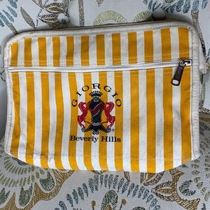 Giorgio Beverly Hills Stripe Top Zip Cotton Bag